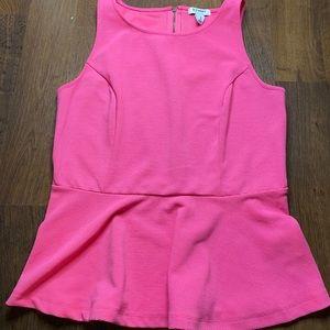 Pink Peplum Sleeveless Blouse